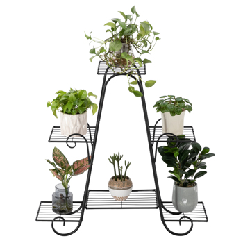 Artisasset One Pack Black Paint 31 Inch High Arch 4 Layers 6 Vertical Stripes Potted Plant Frame