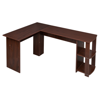 FCH L-Shaped Wood Right-angle Computer Desk with Two-layer Shelves Dark Brown