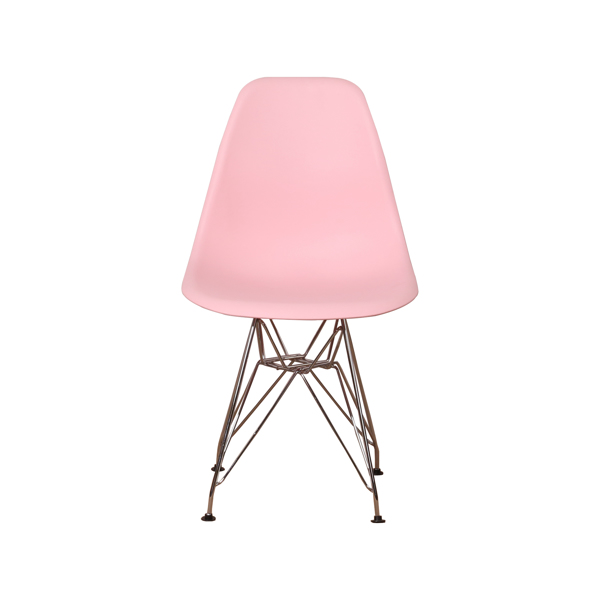 Set of 4 Modern Design Dining Chair with Chrome Metal Legs, Nordic Style Exquisite Design Chair for Living room, Office, Study, Bedroom, Pink