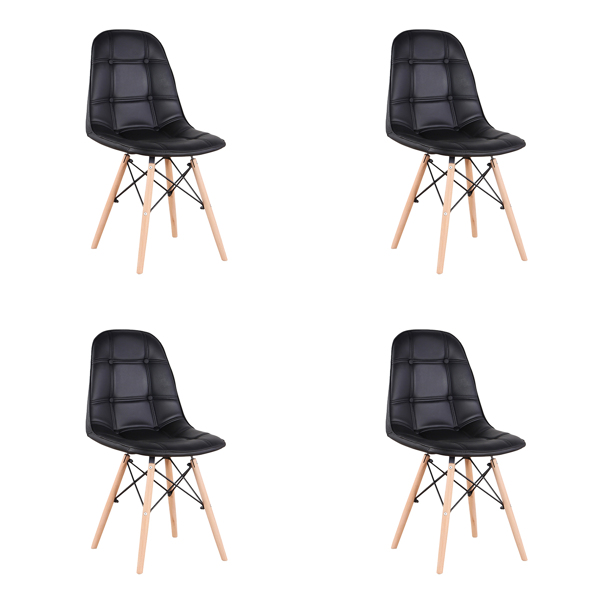 Set of 4 PU Leather/Velvet Ergonomic Dining Chair with Metal Frame and Beech Wood Legs for Dining Room, Office, Living Room, Bedroom, Black