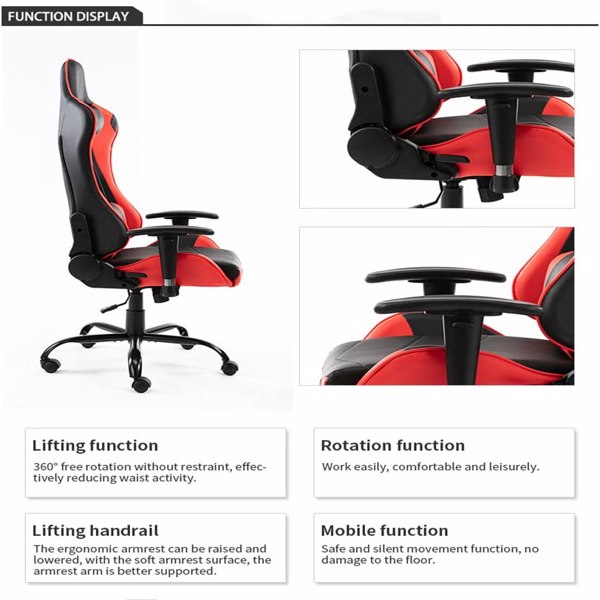 Gaming Chairs, Office Swivel Chairs, Black-White/red/Blue, with headrest and Lumbar Pillow