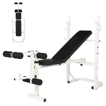 Iron Adjustable Weightlifting Bed White