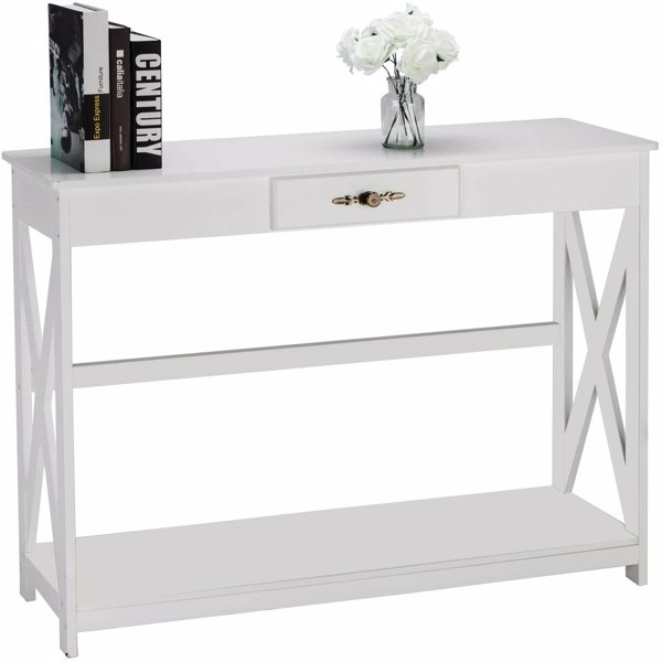 Bonnlo White Entryway Table Sofa Table with Drawer and Shelf Slim Console Table with Storage for Hallway, Living Room, Foyer