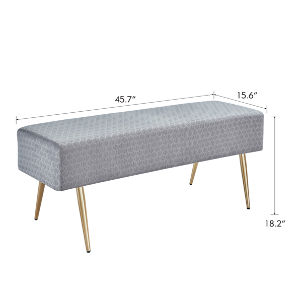 45.7 Inches Velvet Ottoman Rectangular Bench Footstool, Bed End Bench with Golden Metal Legs and Non-Slip Foot Pads for Living Room Bedroom Entryway (Grey)