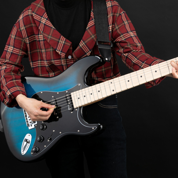 【Do Not Sell on Amazon】Glarry GST  II  Upgrade Electric Guitar with Updated Version Pickup , Glarry II String, Canadian Maple Fingerboards, Bone Nut Blue