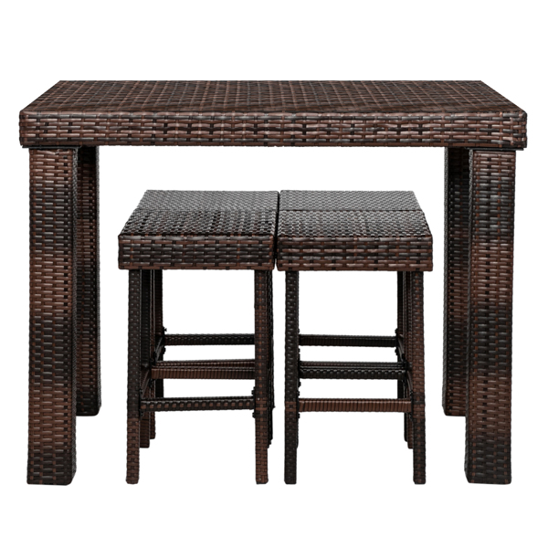 Bar Stool-Table and Chair Set of 5 Brown Gradient