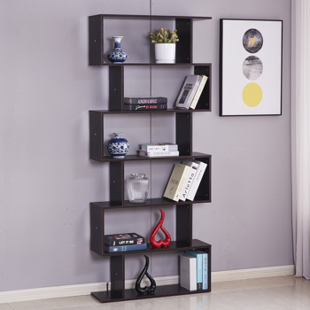 6 Shelf Bookcase, Modern S-Shaped Z-Shelf Style Bookshelf, Multifunctional Wooden Storage Display Stand Shelf Dark Brown