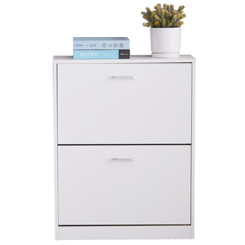 2 Tier Shoe Cabinet Wooden Shoe Storage Cupboard Organizer Unit with 2 Drawer White