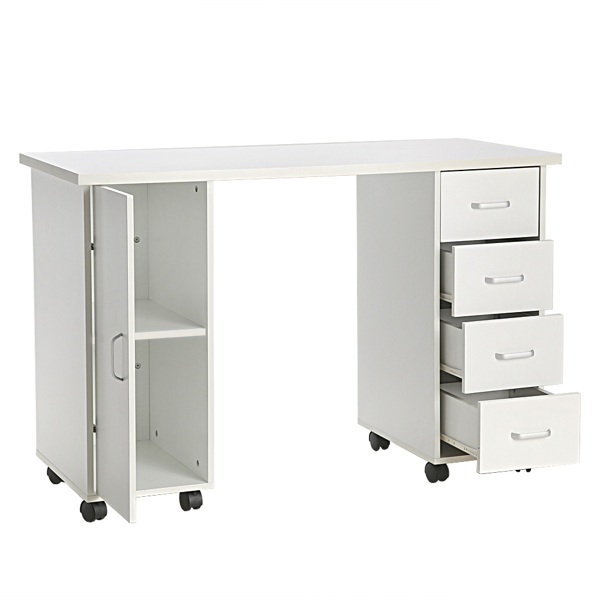 Double Edged Manicure Nail Table with Drawer White