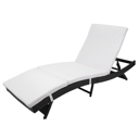 S Style Patio Chaise Lounge Embossing Vines Chaise Lounge Chair Black
