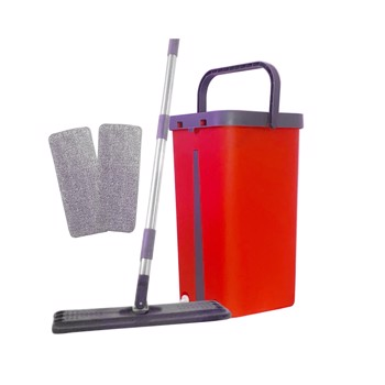 Hand Free Flat Floor Mop And Bucket Set, 360 ° Rotary Wet And Dry Mop With 2 Washable & Reusable Microfiber Mops