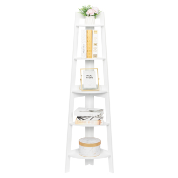 5 Tier Corner Shelf Stand Wood Display Storage Home Furniture White