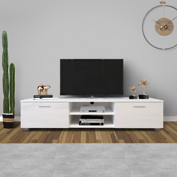 White TV Stand for 70 Inch TV Stands, Media Console Entertainment Center Television Table, 2 Storage Cabinet with Open Shelves for Living Room Bedroom