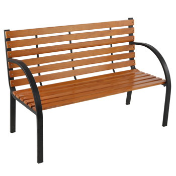"48"" Hardwood Slotted Steel Cast Iron Frame Outdoor Patio Garden Bench Park Seat"