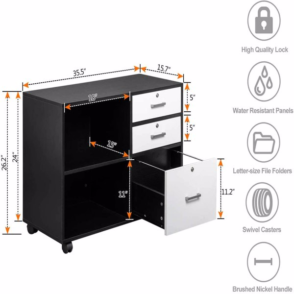 """FCH Wood File Cabinet with 3 Drawer and 2 Open Shelves Office Storage Cabinet with Wheel Printer Stand, 35.5""""L x 15.7""""W x 26""""H"""