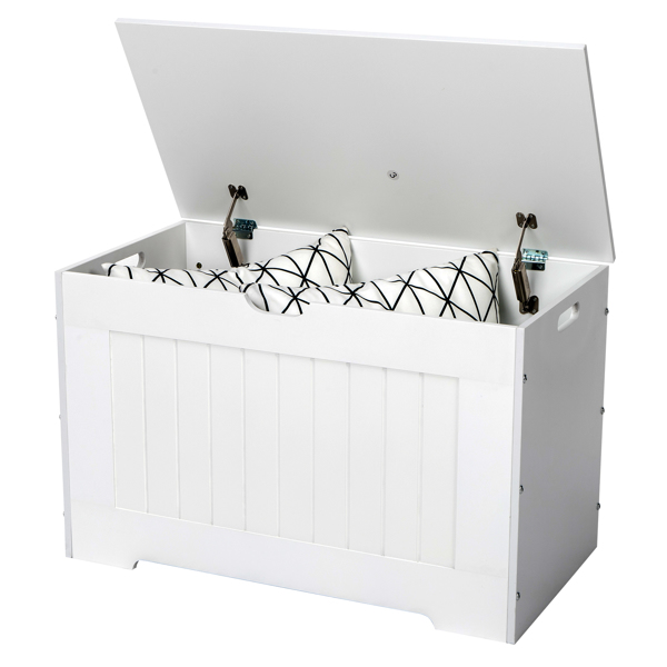 Storage Chest, Entryway Bench with 2 Safety Hinges, Wooden Toy Box, White