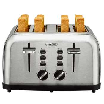 Toaster 4 Slice, Geek Chef Stainless Steel Extra-Wide Slot Toaster with Dual Control Panels of Bagel/Defrost/Cancel Function,Removable Crumb Trays, Auto Pop-Up.Prohibit shelves in the Amazon