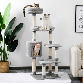 Cat Tree Multi Level Space Efficient Cat Play Tower Half Plush Half Sisal Cat Scratching Post With Condo Bed Perch Grey Height 120cm