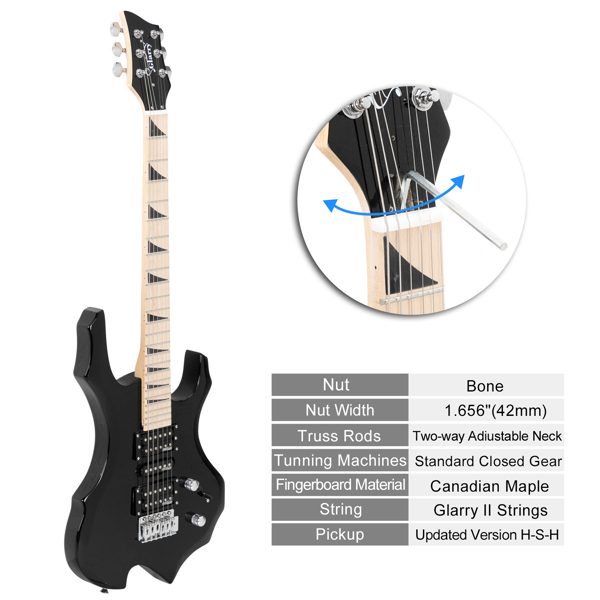 【Do Not Sell on Amazon】Glarry Flame II Upgrade Electric Guitar with Updated Version Pickup , Glarry II String, Canadian Maple Fingerboards, Bone Nut Black