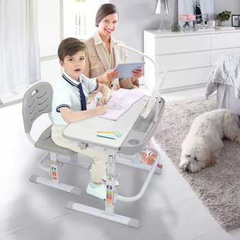 【ZTGM】70CM Lifting table top can tilt children's study desk and chair gray (with reading frame and USB lamp)