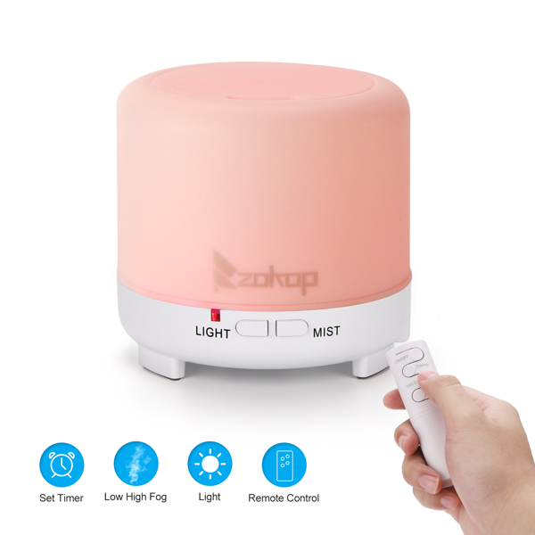 Zokop USB 2358yk 5V 4.5w 120ml Aroma Diffuser White Plastic with Black Remote Control Colorful Lights
