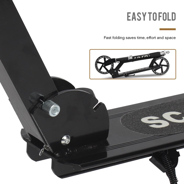 Kick Scooters with 200mm Large Wheels, Scooter for Kids 10 Years and up/Adults   Adjustable Height   Shoulder Strap, Smooth Ride Commuter Portable Scooters Best Gift for Teen Black