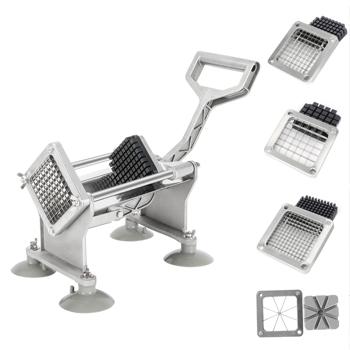 """Vertical French Fries Machine with Four 3/8"""" & 1/4"""" & 1/2"""" Flower Blades & 4pcs Suction Cups & 2pcs Expansion Bolts Silver & Black"""