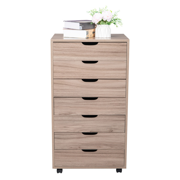 MDF with PVC Seven-Drawing Wooden Filing Cabinet Grey Oak Color