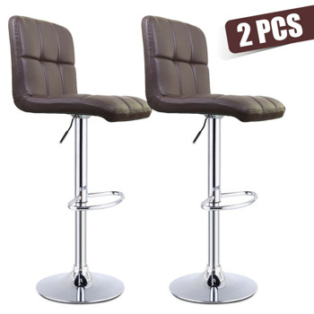 Modern Set of 2 Bar Stools with Back Dining Counter PU Chairs 360° Swivel Stool
