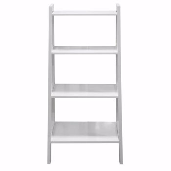 Ladder Shelf Wooden 4 Tier Storage Unit Display Standing Bathroom Shelf | Bookshelf Display Rack Bookcase Storage White