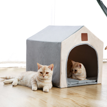 Cat Bed Dog Bed Pet Nest Cat Cave Warm Soft Handy Portable Foldable Sleeping Bed for Cats Dog House Outdoors Gray