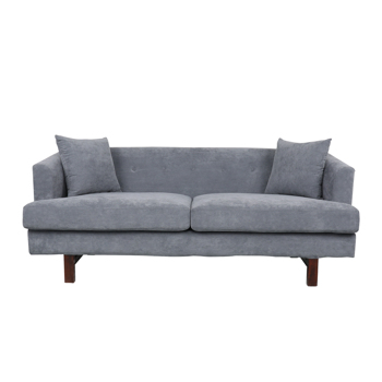 Contemporary 3 Seater Fabric Sofa with Accent Pillows-Dark Gery