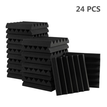 "24pcs 12""x12""x2"" Acoustic Foam Panel Wedge Studio Soundproofing Wall Padding Black"