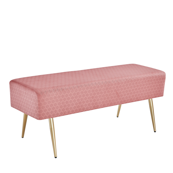45.7 Inches Velvet Ottoman Rectangular Bench Footstool, Bed End Bench with Golden Metal Legs and Non-Slip Foot Pads for Living Room Bedroom Entryway (Pink)