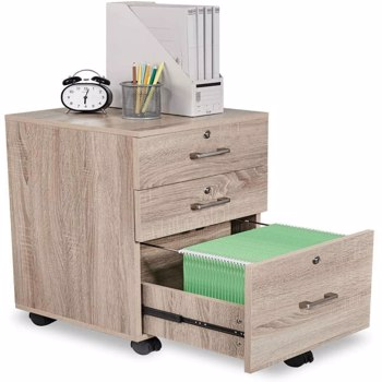 FCH 3-Drawer Rolling Wood File Cabinet with Lock, Oak