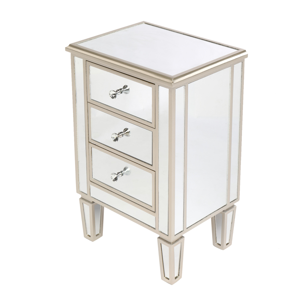 FCH MDF Mirrored Three-drawing Bedside Cabinet Rosy Color