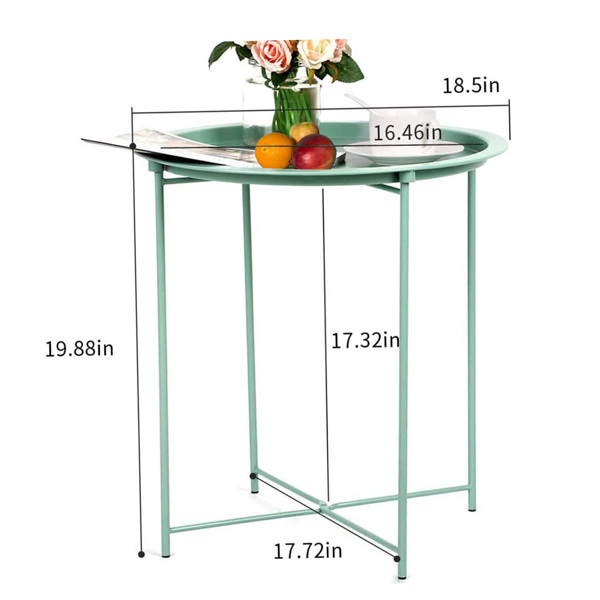 Folding Tray Metal Side Table, Sofa Table Small Round End Tables, Anti-Rust and Waterproof Outdoor or Indoor Snack Table, Accent Coffee Table