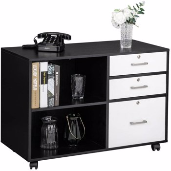 "FCH Wood File Cabinet with 3 Drawer and 2 Open Shelves Office Storage Cabinet with Wheel Printer Stand, 35.5""L x 15.7""W x 26""H"