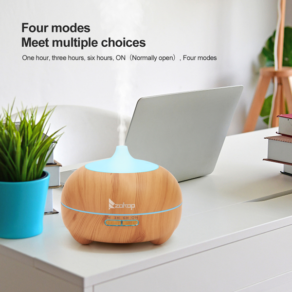 Zokop 21411yk 110V 14W 550ml Aroma Diffuser Brown Plastic with White Remote Cntrol Colorful Light