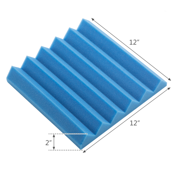 """20pcs 12""""x12""""x2"""" Acoustic Foam Panel Wedge Studio Soundproofing Wall Padding Black and Blue"""