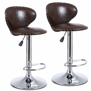 Modern Set of 2 Bar Stools with Back Dining Counter PU Chairs 360° Swivel Stool Brown