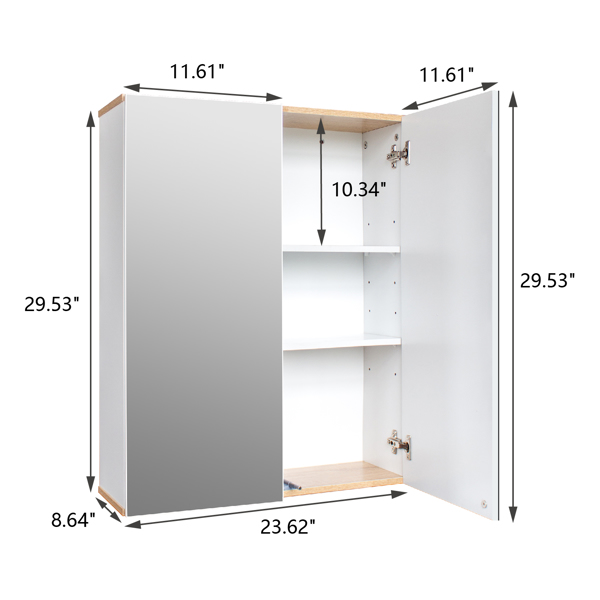 FCH MDF Painting Particle Board Double Mirror Door Bathroom Wall Cabinet White & Log Color