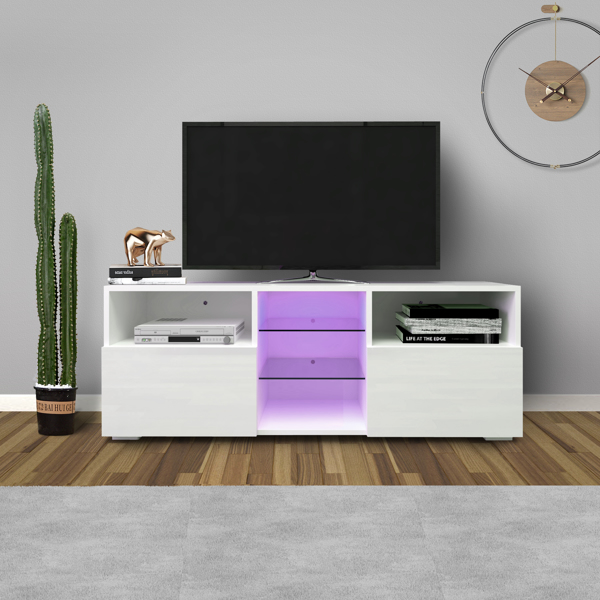 Modern Minimalist TV Cabinet Living Room with 20 colors LED Lights,TV Stand Entertainment Center (White) Modern High-Gloss LED TV Cabinet, Simpleness Creative Furniture TV Cabinet