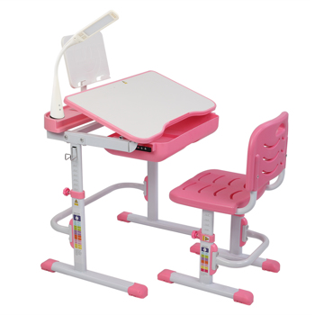 70CM Lifting Table Can Tilt Children Learning Table And Chair Pink (With Reading Stand With USB Table Lamp)