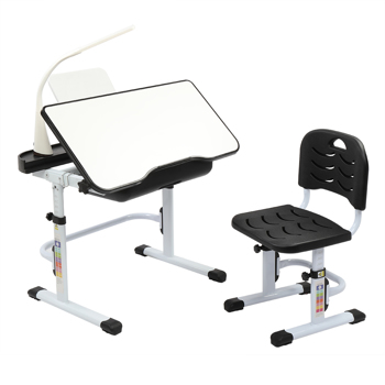 70CM Lifting Table Top Can Tilt Children Learning Table And Chair Black With Reading Stand With USB Table Lamp)