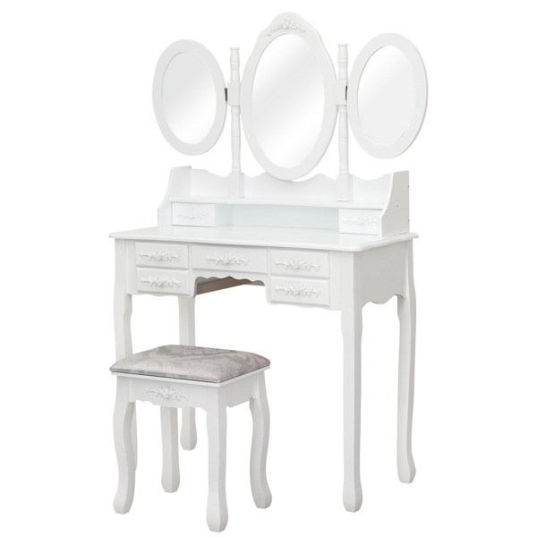 FCH MDF Spray Paint Seven Drawers Three-fold Mirror Dressing Table Set White