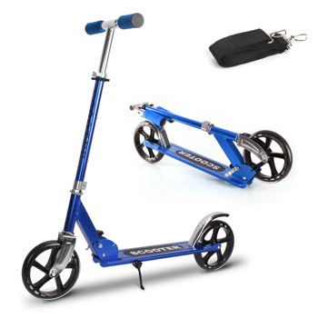 Kick Scooters with 200mm Large Wheels, Scooter for Kids 10 Years and up/Adults   Adjustable Height   Shoulder Strap, Smooth Ride Commuter Portable Scooters Best Gift for Teen Blue