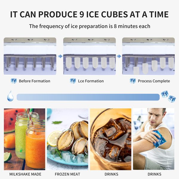 ZOKOP 120V 150W 44lbs/20kg/24h Ice Maker ABS Transparent Cover/Display Commercial/Home Silver