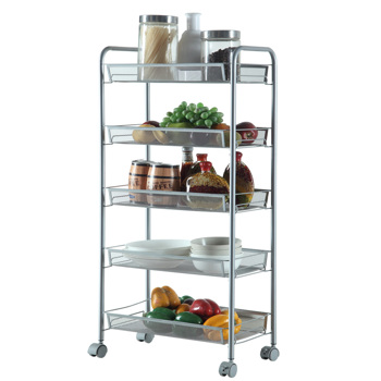 Honeycomb Mesh Style Five Layers Removable Storage Cart Silver