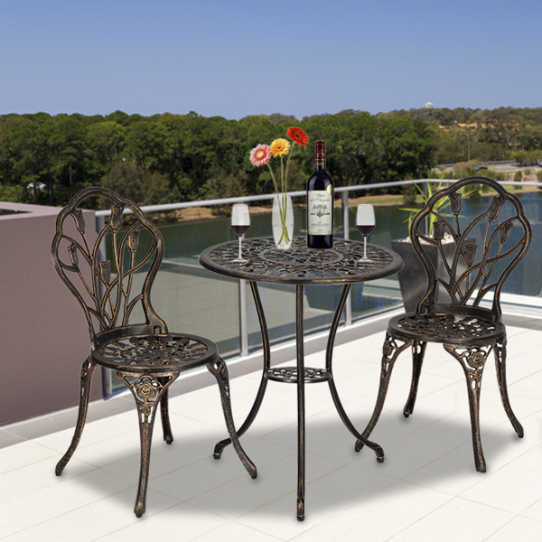 European Style Cast Aluminum Outdoor 3 Piece Tulip Bistro Set of Table and Chairs Bronze